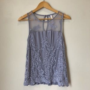 Target Lilac Floral Lace Tank Top